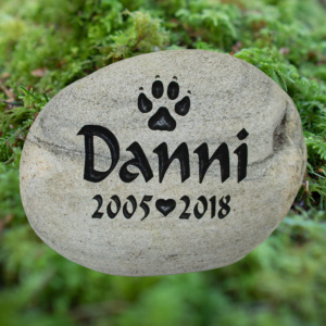 Paw Heart Memorial Stone